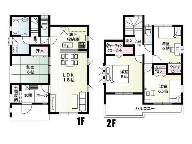 間取り図 A号棟 間取り図・・・各部屋に収納スペースがあります。バルコニーがつながっているので、布団を干しやすく取り込みやすいです。