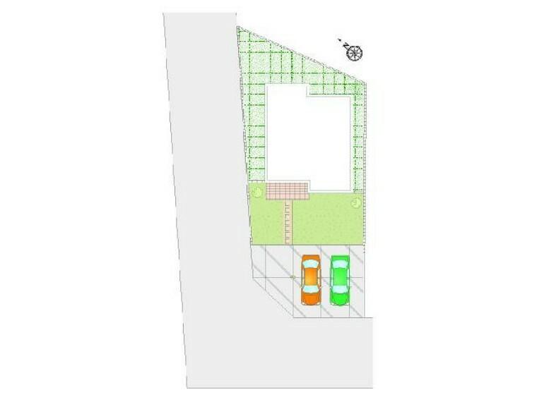 区画図 A号棟 配置図・・・駐車場は合計3台が停められるスペースがあります!日当たりも問題はなさそうですね!