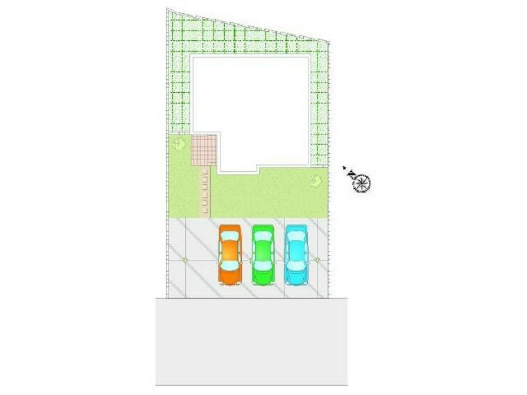 区画図 B号棟 配置図・・・駐車場は合計4台が停められるスペースがあります!日当たりも問題はなさそうですね!