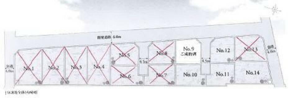 区画図 No.10の土地は約48坪ございます。