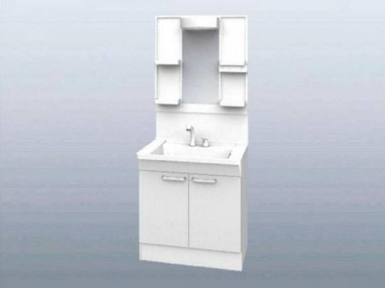【同仕様写真】洗面化粧台はTOTO製の新品に交換。スクエアなデザインの洗面ボウルは間口60cm、実容量7Lと広々。水が流れやすい滑り台ボウルで全体に水がいきわたります。