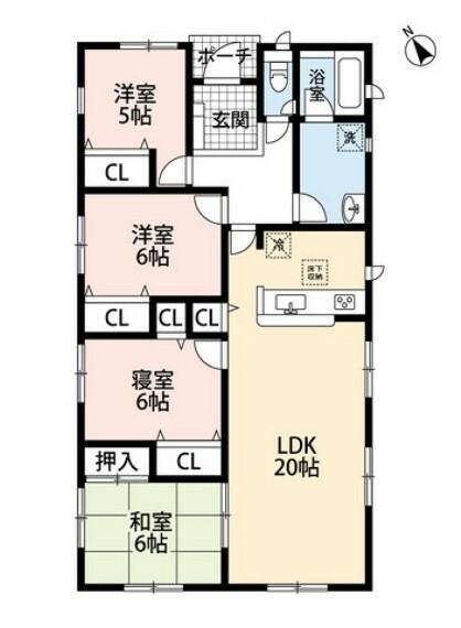 間取り図 20帖のLDKに広めの洗面台、各室収納などゆとりのある暮らしができる平屋タイプです^^