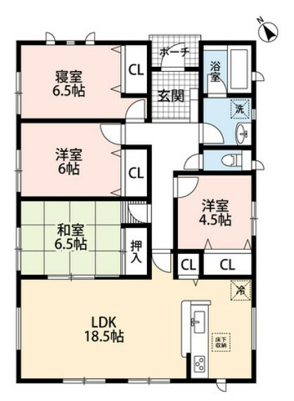 間取り図 LDKと隣接する和室をつなげると25帖の広々とした空間になります^^ゆとりのある平屋タイプです^^