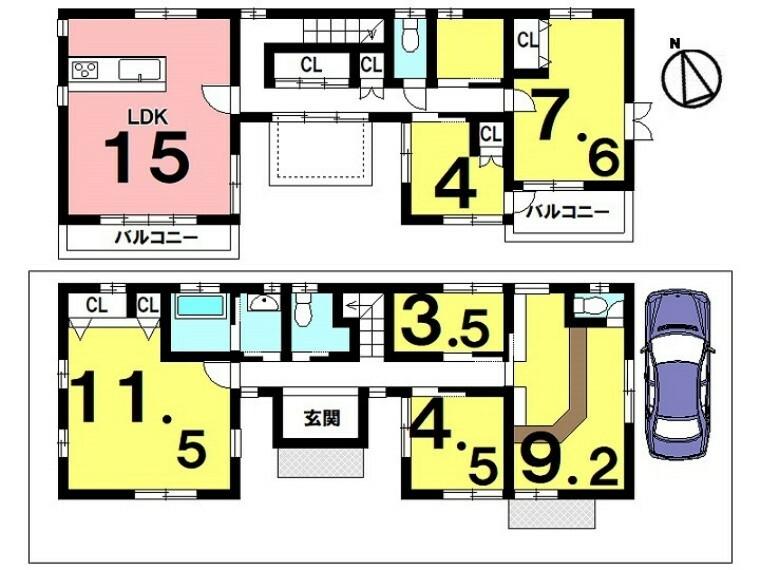 間取り図 土地面積 132.99平米(40.22坪) 建物面積 138.09平米(41.77坪) 5LDK+S(納戸) 駐車場1台
