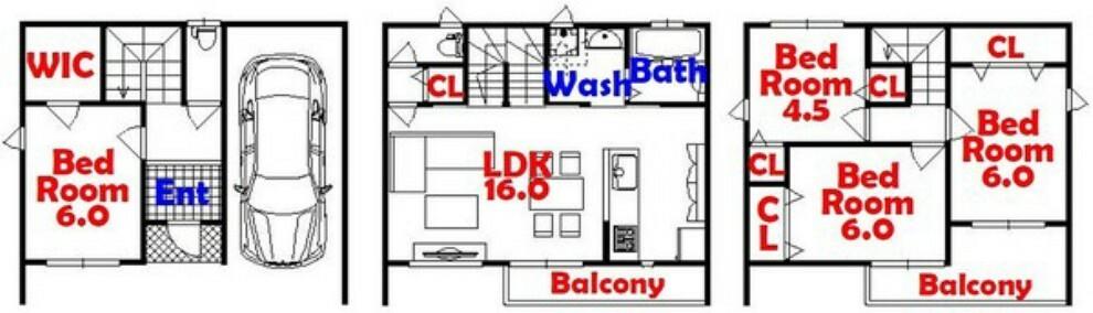 間取り図 4SLDK/家事動線バッチリ/人気のカウンターキッチン/ウォークインクローゼット/全居室収納