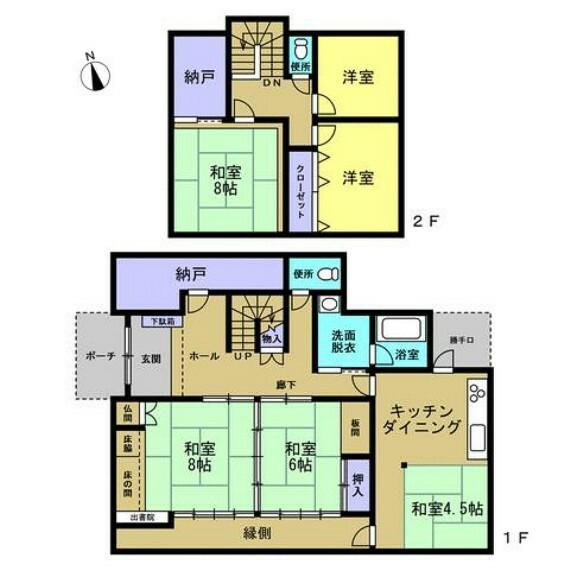 間取り図 【間取り図】6SDKのお家です。部屋数がしっかりありますので、家族がそれぞれお部屋を持つこともできそうです。