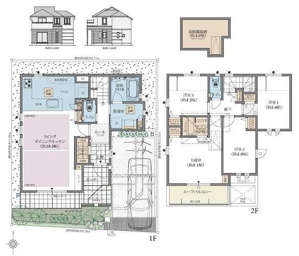 間取り図 5号棟 4LDK 敷地面積:110.07平米 延床面積:100.40平米