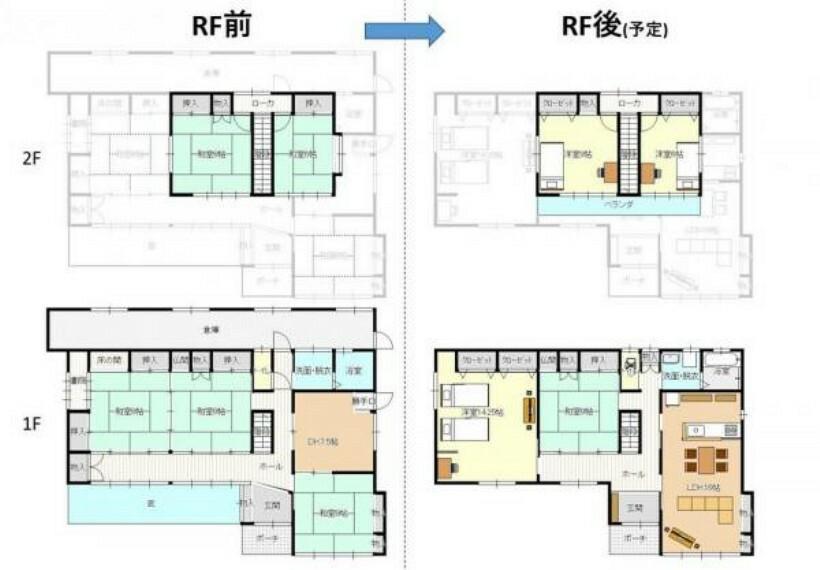 間取り図 和室が多い間取りを洋室中心の間取りに大幅に変更するリフォームを計画しています。