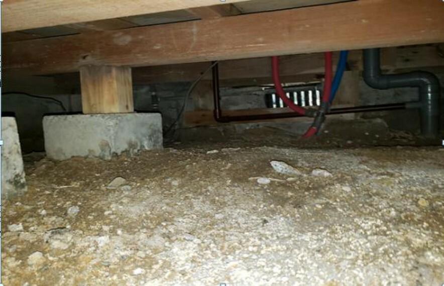 現況写真 中古住宅の3大リスクである、雨漏り、主要構造部分の欠陥や腐食、給排水管の漏水や故障を2年間保証します。その前提で床下まで確認の上でリフォームし、シロアリの被害調査と防除工事もおこないます。