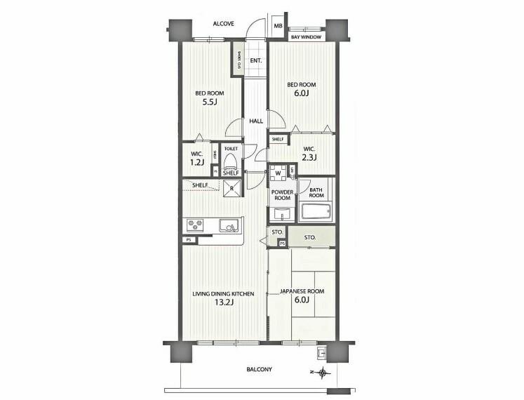 間取り図 3LDK、専有面積70.76m2、バルコニー面積10.9m2 3LDK (リビングダイニングキッチン 13.2帖 / 洋室 6帖 / 和室 6畳 / 洋室 5.5帖)70.76m2 (21.4 坪)バルコニーの広さは10.9平米です。バルコニーをご活用いただけます。