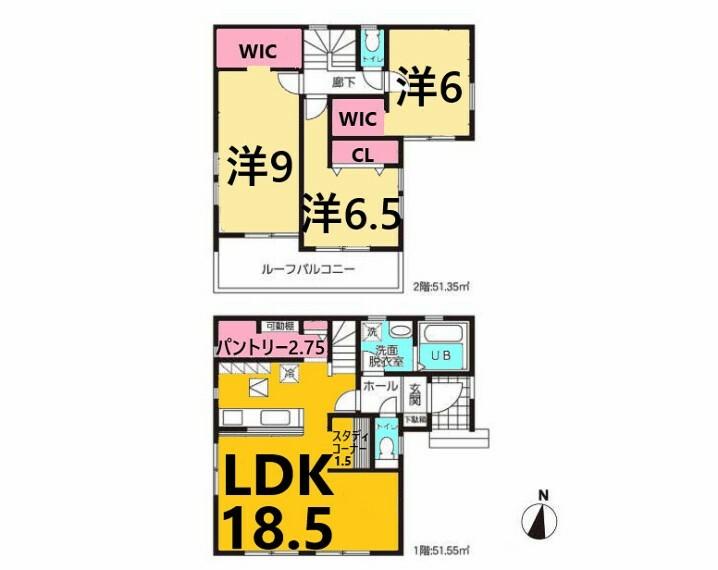 間取り図 土地面積:115.24平米、建物面積:102.90平米、3LDK+スタディコーナー