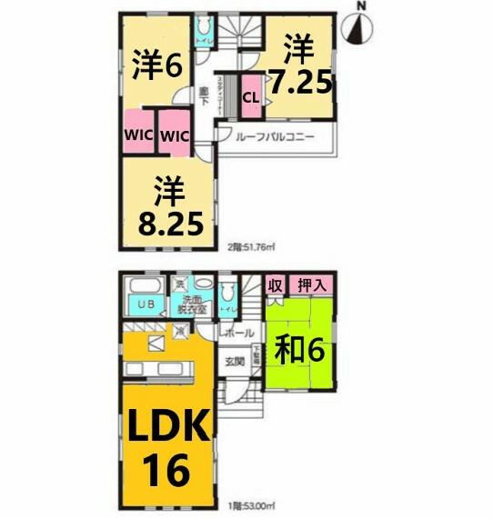 間取り図 土地面積:120.14平米、建物面積:104.76平米、4LDK+スタディコーナー