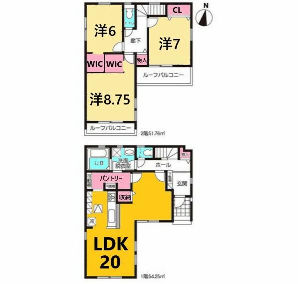 間取り図 土地面積:119.95平米、建物面積:106.01平米、3LDK