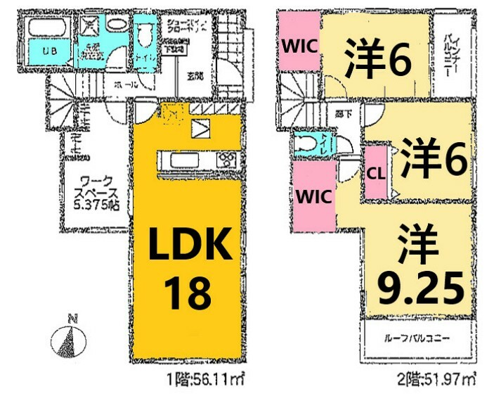 間取り図 土地面積:164.42平米、建物面積:108.08平米、3LDK+ワークスペース