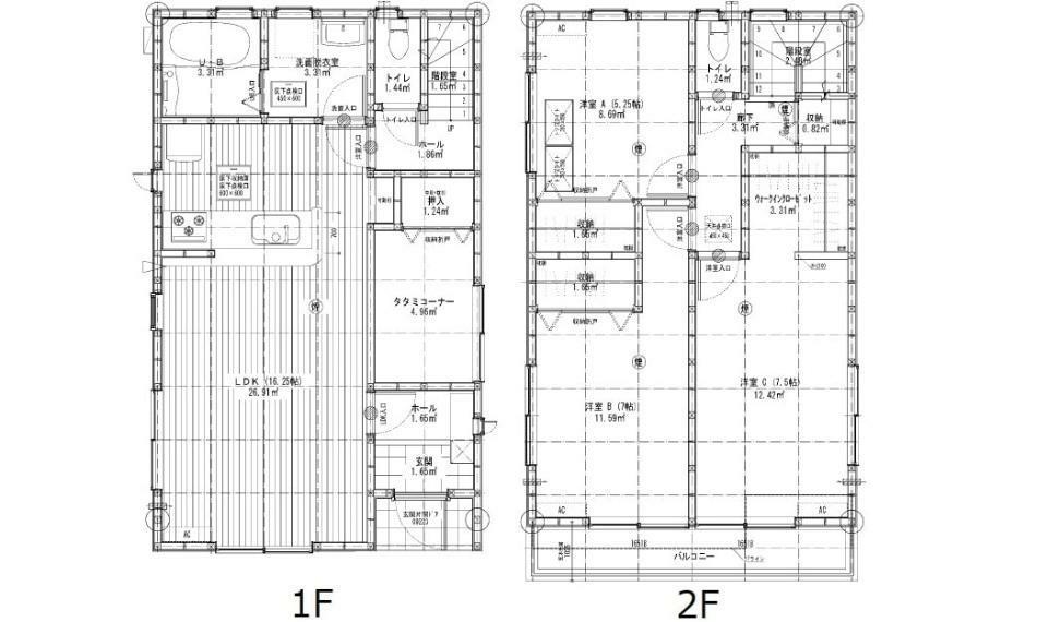 間取り図 3080万円、3LDK、土地面積105.69m2、建物面積95.22m2 楽々園電停徒歩10分