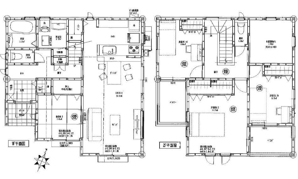間取り図 5200万円、4LDK、土地面積150.14m2、建物面積105.16m2 草津電停徒歩3分