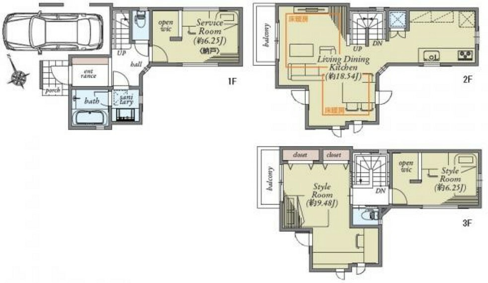 間取り図 建物面積103.01平米 テレワークスペースやあって嬉しいWICが2箇所付きなど、スペースを上手く活用した構造が魅力的。ご家族皆様のコミュニケーションを重視した3LDKのお住まいです。