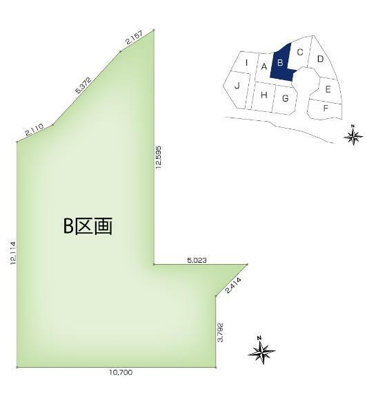 土地図面 【B区画】土地面積:130.32平米(39.42坪)、土地価格:2,209万円