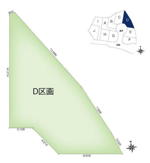 土地図面 【D区画】土地面積:148.64平米(44.96坪)、土地価格:2,609万円