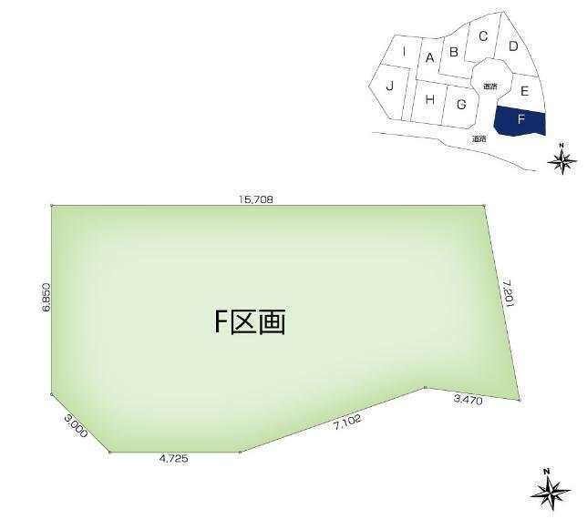 土地図面 【F区画】土地面積:130.38平米(39.43坪)、土地価格:2,367万円