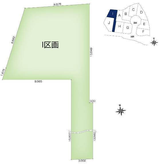 土地図面 【I区画】土地面積:155.29平米(46.97坪)、土地価格:2,349万円