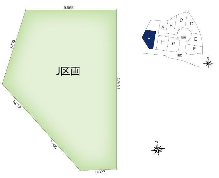 土地図面 【J区画】土地面積:156.68平米(47.39坪)、土地価格:2,702万円