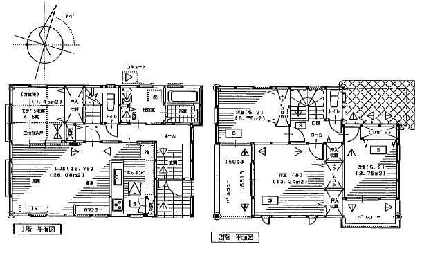 間取り図 2280万円、4LDK、土地面積156.86m2、建物面積99.36m2