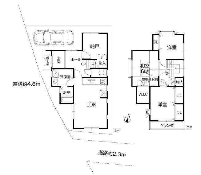 間取り図 南西角地ですので採光・通風良好です!ウォークインクローゼットや屋根裏収納、納戸など収納がたっぷり配置された間取りです!たっぷりと収納出来ますので、お部屋を広々使えます!土地面積約25.3坪、建物面積84.86平米です!