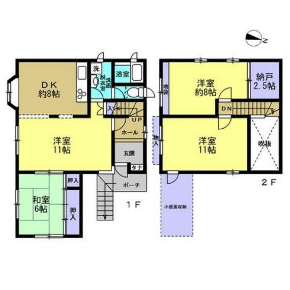 間取り図 リフォーム前の間取図です。4DKの2階建てです。どこを誰の部屋にするか、考えるだけでワクワクしますね。