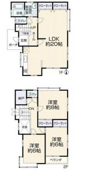 間取り図 2階建て、4LDK約20帖、全室6帖以上、庭付き。陽当り良好な物件となっております。前面道路は約6mと広くお車の駐車もスムーズに行えます。