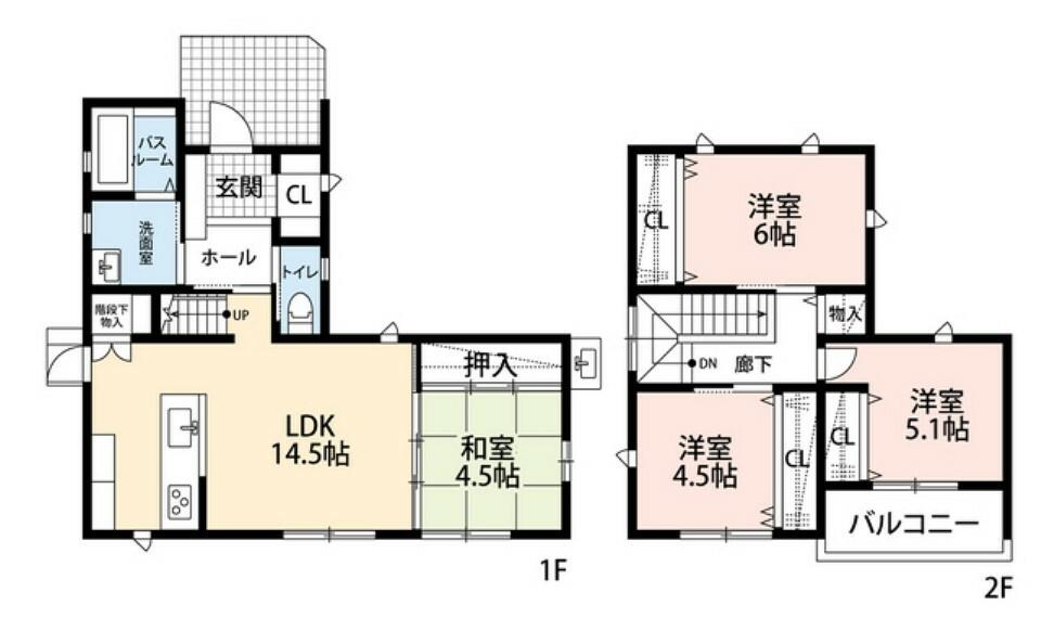 間取り図 リビング階段や各室収納などうれしい設備が充実しています^^