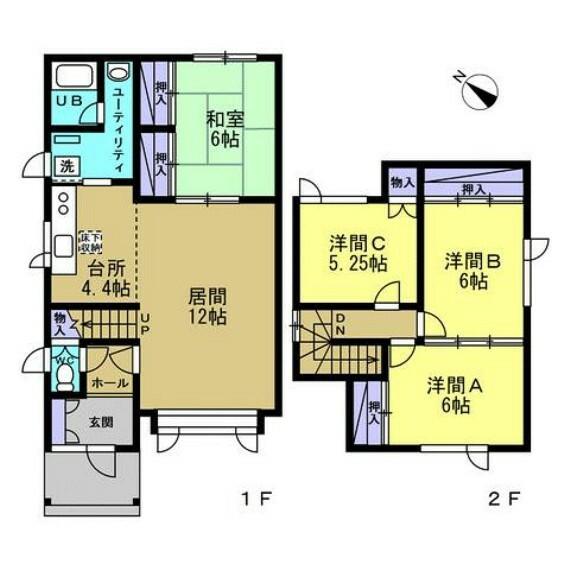 間取り図 【間取り図】4LDKの二階建てです。1階に和室1部屋、2階に洋室3部屋、があり全室クロス貼り替えし、各居室、キッチン、階段天井に火災警報器を設置しました。