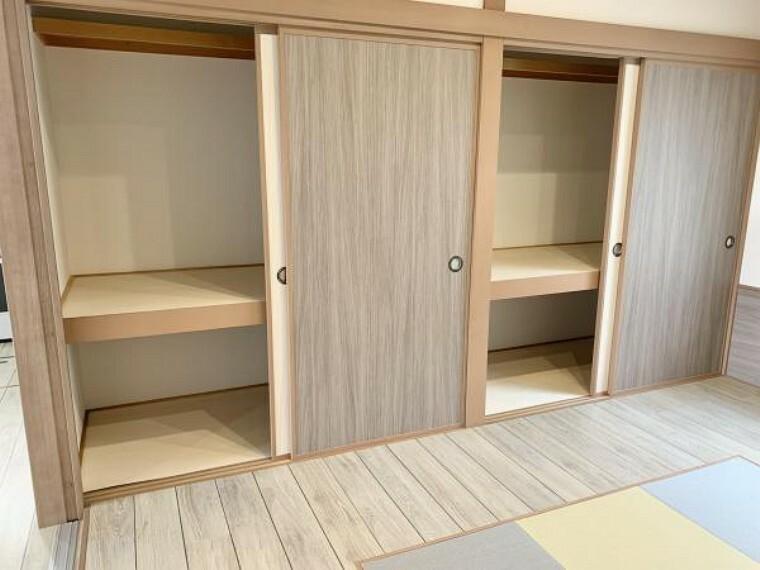 収納 リフォーム済【和室押入】1階の和室6帖の押入です。押入内はクロスの張替を行いました。大きな押入なので布団などのたくさんの収納ができます。