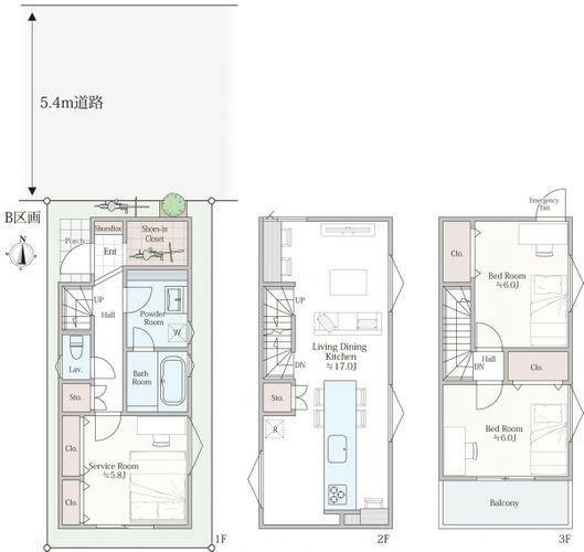 区画図 プランB建物参考価格2074万円土地+建物=6854万円