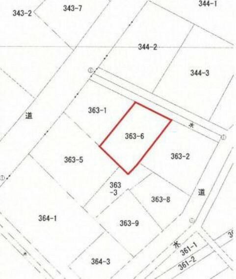 区画図 土地面積約56坪、現況更地です。