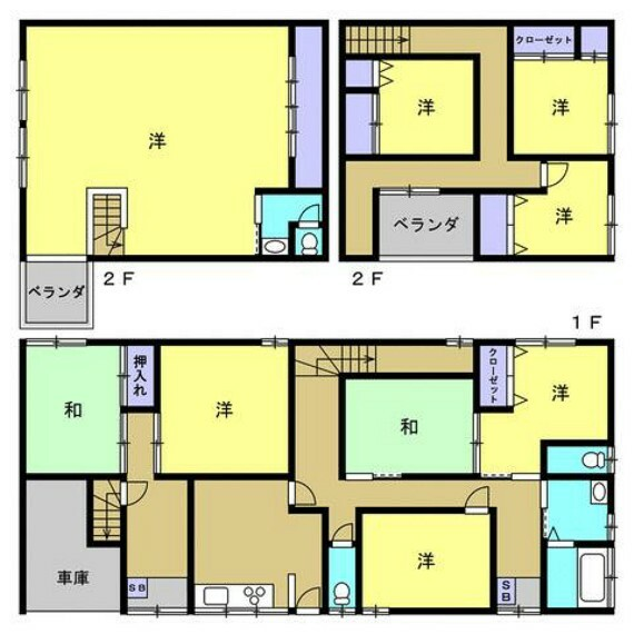 間取り図 お部屋がたくさんの9DK。1階にはトイレが2つあります。1階だけでもかなりの部屋数なので子供部屋にいかがでしょうか。キッチン等で料理をしていても、目と耳の届く範囲にお子様がいるので安心ですね。