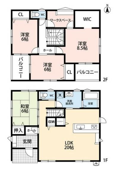 間取り図 カウンターキッチンをはじめとしたとても使いやすい間取り。ワークスぺ-スのある2階にも注目です。