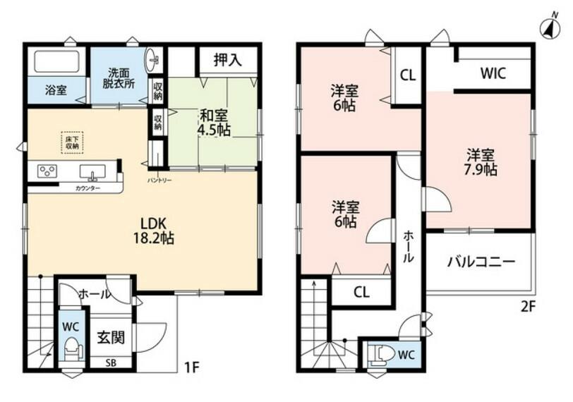 間取り図 パントリーやWICなど収納の充実した間取りです^^2階の全洋室6帖以上あるので寝室など使い勝手がいいですね。