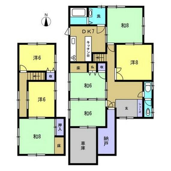 間取り図 【リフォーム中】間取り図です。リフォーム後は5LDKに変更予定です。LDK以外にも居室が十分にございますので、4人以上のご家族であってもおすすめです。