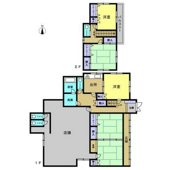 間取り図 【リフォーム前・間取り】1階の店舗スペースにはフローリングを新設しLDKに。2階にもトイレが設置されているため使い勝手もいいですね。