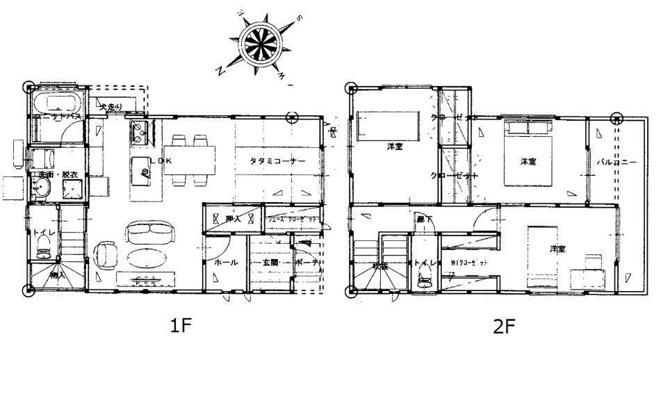 間取り図 2850万円、4LDK、土地面積139.7m2、建物面積95.22m2