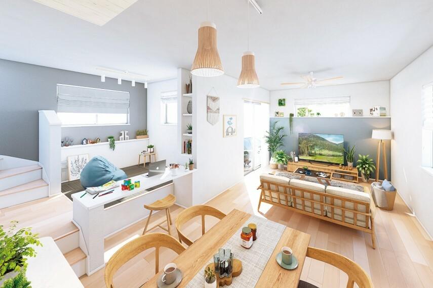 居間・リビング 【スキップフロア】  リビングと段差で繋がるカウンタースペース。様々なアレンジを楽しめる、3つのデザインをご用意しました。※16号棟完成予想図