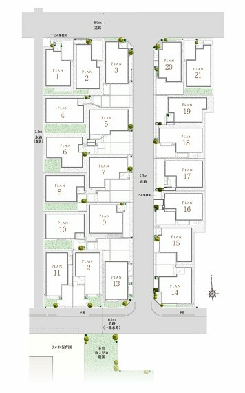 区画図 【永住に相応しい全21邸】  5mの街区内道路とセットバックにより、街の中心に7mのゆとりが生まれます。各邸に豊かな陽光をもたらすとともに、エリアのシンボルとなるような開放的な情景を描き出します。
