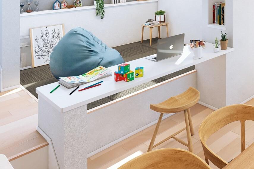 居間・リビング 【下部オープンタイプ】  カウンター下部スペースの壁を無くし、リビング側から椅子を置いて向かい合うようにも使用可能。お子様の勉強を見る時にも便利です。/11.16.21号棟
