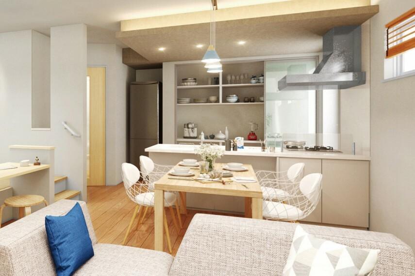 キッチン 【フルフラットキッチン】  開放的なフルフラットタイプ。ダイニング側からもお料理に参加でき、人が集まる時にはより楽しめます。段差の無いデザインはお掃除のしやすさも魅力です。(邸別)
