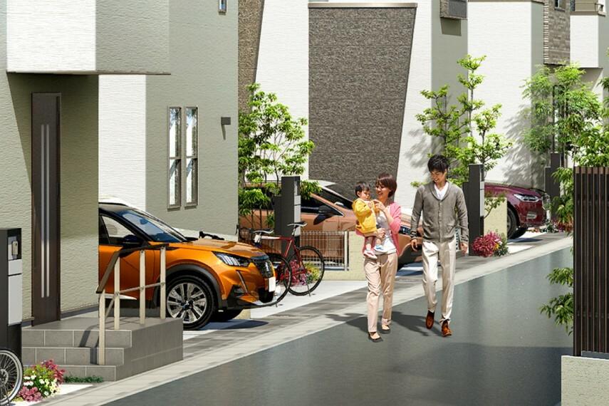 現況外観写真 【動きのある街並みデザイン】  カースペースを縦横ランダムに配置することで、外構部分に変化を創出。21邸で1つのデザインにもなる設計です。