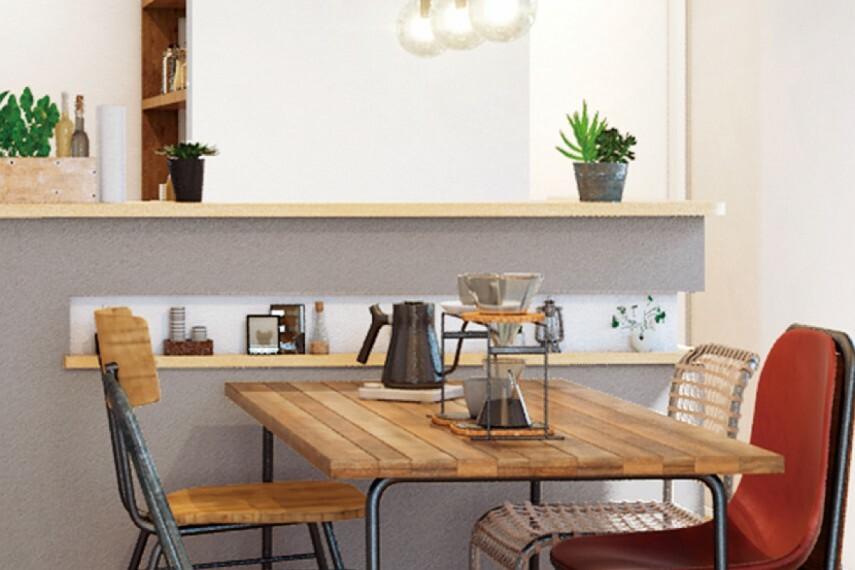 キッチン 【キッチンカウンター下ニッチ】  ダイニングテーブルの高さにニッチをご用意しました。お気に入りの雑貨や、シーズン小物を飾って楽しめます。(邸別)