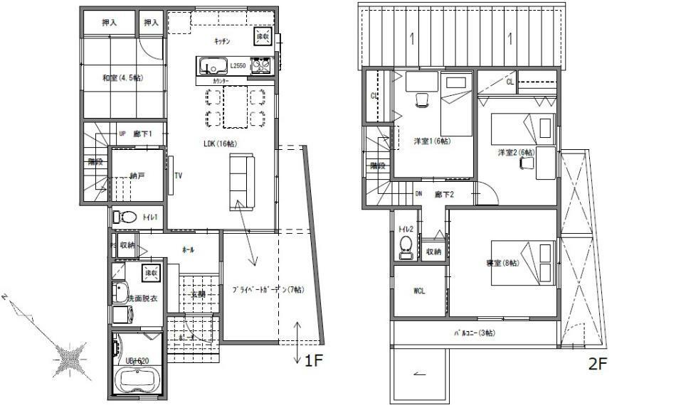 間取り図 2380万円、4LDK+S(納戸)、土地面積143.52m2、建物面積109.3m2