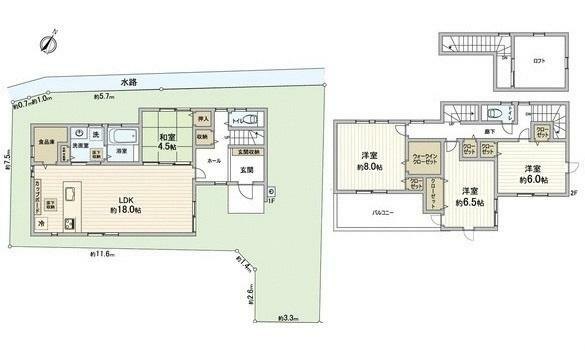 間取り図 2730万円、4LDK、土地面積146.57m2、建物面積115.1m2 JR下深川駅徒歩10分