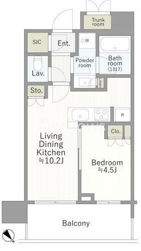 間取り図 1LDK、専有面積37.69平米、バルコニー8.95平米、北東向き、所在階4階、トランクルーム付、未入居タワーマンション。